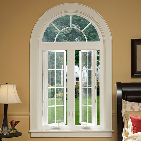 Twin Series 750 casement window with mulled circle top above